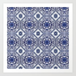 Portuguese Tiles Azulejos Blue and White Pattern Art Print