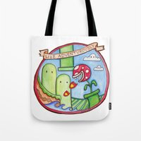 uncharted Tote Bags featuring Live Adventurously by geeboo