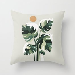 Cat and Plant 11 Throw Pillow