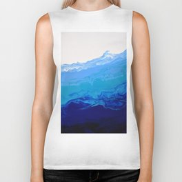 High Tide Blue Turquoise Water Fluid Abstract Biker Tank