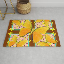 Yellow Butterflies Coffee Brown Pink & Blue Patterns Rug