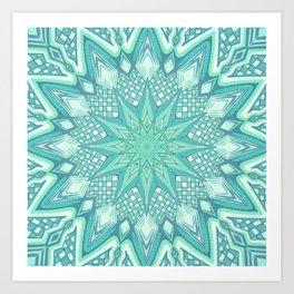 Burst Mandala Turquoise Art Print