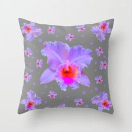GREY ART TROPICAL LILAC CATTLEYA ORCHID FLOWERS Throw Pillow