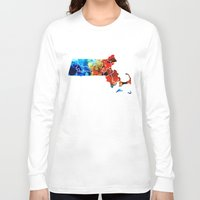 patriots Long Sleeve T-shirts featuring Massachusetts - Map Counties By Sharon Cummings by Sharon Cummings