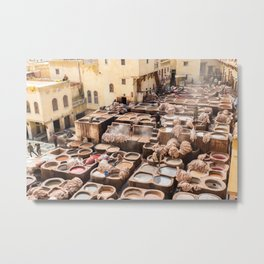 Dyeing - Chaouwara Tanneries of Fes, Morocco Metal Print
