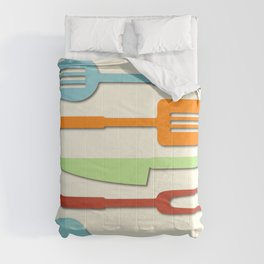 Kitchen Utensil Colored Silhouettes on Cream II Comforters