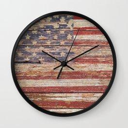 Americana Rustic Flag A643 Wall Clock