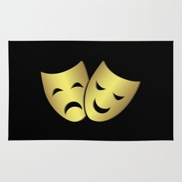 Theater masks: happy and sad faces Rug