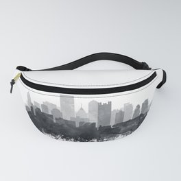 Pittsburgh Skyline Black & White Watercolor by Zouzounio Art Fanny Pack