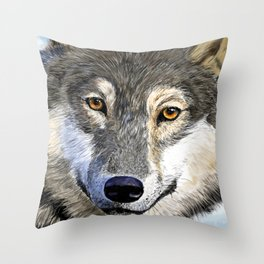 Eyes of the Wolf Throw Pillow