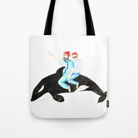 the life aquatic Tote Bags featuring Life Aquatic by cristina zavala