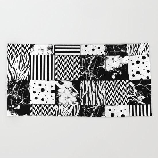 Eclectic Black and White Squares Beach Towel