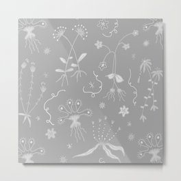 Grey Floral Pattern Metal Print