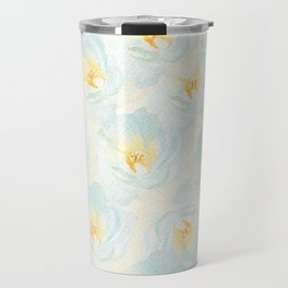 Watercolor hand painted pastel blue yellow floral pattern Travel Mug