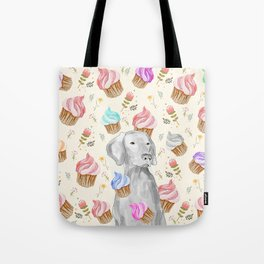 CUPCAKES AND WEIMARANER Tote Bag