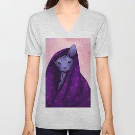 Snug Bug - Black Sphynx Cat Snugged in a Purple Heart Print Blanket Unisex V-Neck