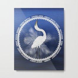 Great Egret Wreath Metal Print