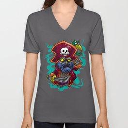 Pirate Skull  Parrot  Knife  Rover Sea-Robber Gift Unisex V-Neck