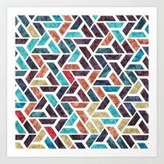 Seamless Colorful Geometric Pattern XVI Art Print
