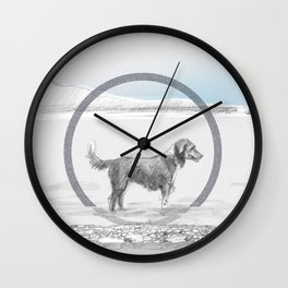 dog wading in fjord Wall Clock