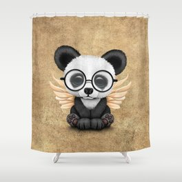 Cute Panda Cub with Fairy Wings and Glasses Shower Curtain