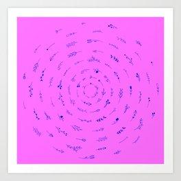 Minimalist Spring Floral Cyclone (Blue on Pink) Art Print