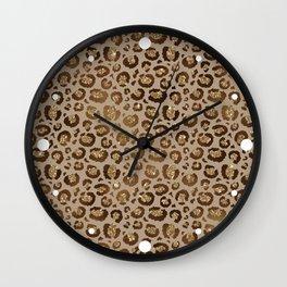 Brown Glitter Leopard Print Pattern Wall Clock