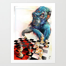 monkey chess Art Print