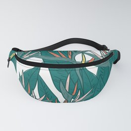 tropical strelitzia flowers leaf sketch, black contour pink coral yellow green. simple ornament Fanny Pack