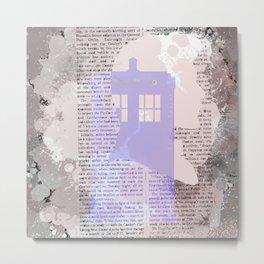Eleventh Doctor and TARDIS newspaper Metal Print