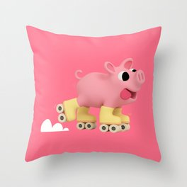 Rosa the Pig does Rollerskating Throw Pillow