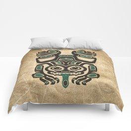 Teal Blue and Black Haida Spirit Tree Frog Comforters