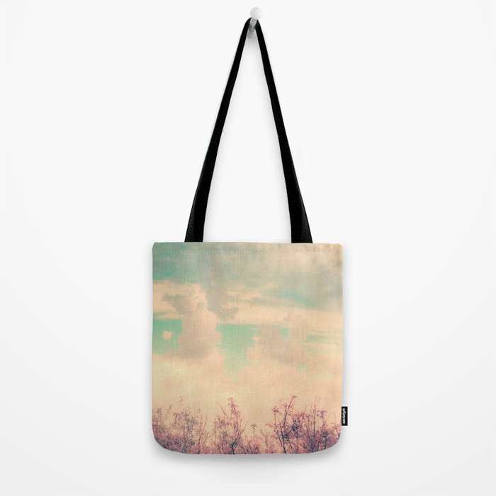 Spring Daydream (Dusty Pink Flowers, Mint Green Sky) Tote Bag