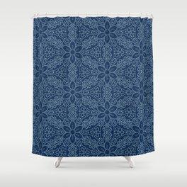 Damask flower motif sashiko stitch pattern. Shower Curtain