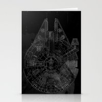 millenium falcon Stationery Cards featuring Millenium Falcon by Black Brain
