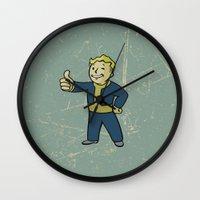 warcraft Wall Clocks featuring Vault Boy - fallout 4 by janeemanoo