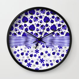 Fancy Blue Ladybugs and Flowers Wall Clock