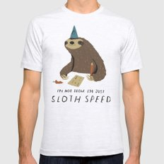 sloth speed Mens Fitted Tee LARGE Ash Grey
