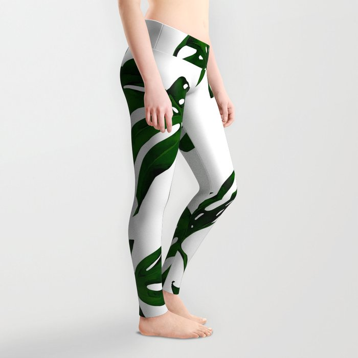 Simply Tropical Palm Leaves in Jungle Green Leggings