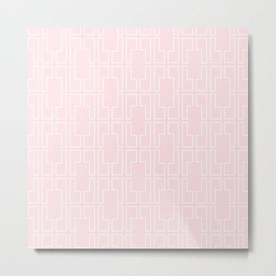 Simply Mid-Century White on Flamingo Pink Metal Print
