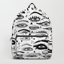 All Eyez on Me- Black and White Ink Drawing Backpack