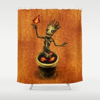 groot Shower Curtains featuring Groot by Anna Shell