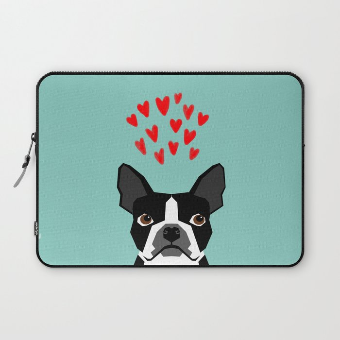 Boston Terrier - Hearts, Cute Funny Dog Cute Valentines Dog, Pet, Cute,  Animal, Dog Love, Laptop Sleeve