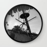 pirate ship Wall Clocks featuring Pirate Ship by Yellow Tie