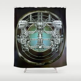 """Astrological Mechanism - Gemini"" Shower Curtain"