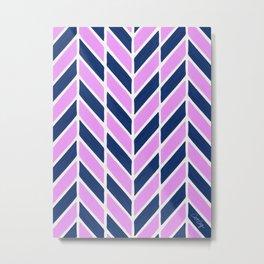 Herringbone Acrylic – Navy and Lavender Palette Metal Print