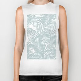 Pastel green modern tropical floral palm tree pattern Biker Tank