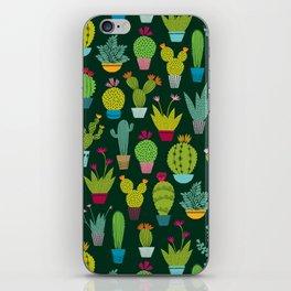 Dark cactus pattern iPhone Skin