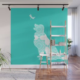 Golden Retriever on Turquoise Color Wall Mural