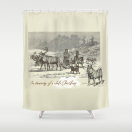 Nothern winter scene with Dogs and Reindeers team Shower Curtain